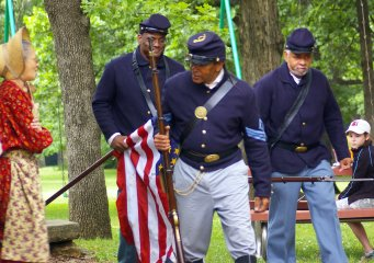 First Kansas Colored reenactors participate in Civil War Days in Humboldt.