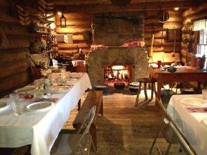Cozy up next to the hearth for a historic meal at the Ward Cabin.