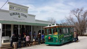 Miami County Trolley stops at the New Lancaster General Store.