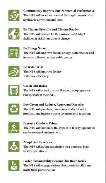 National Park Service goals from the Green Parks Plan